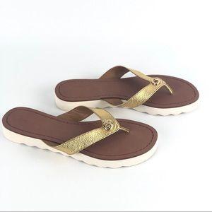 Coach Shelly Gold Metallic Sandals Flip Flop Shoes